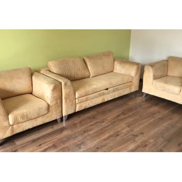 Wypoczynek 2x fotele + sofa  funkcja spania Tanio