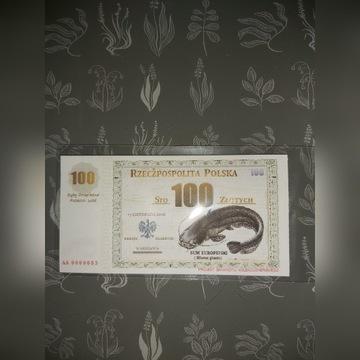Projekt Banknotu.100zł.Niski numer.