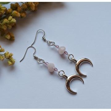 Kolczyki lunula kwarc różowy amulet talizman witch
