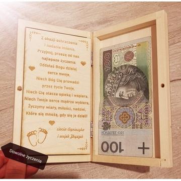 Prezent na komunię, CHRZEST, pudełko na banknoty