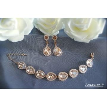 Komplet biżuteria ślubna wieczorowa cyrkonie Z9