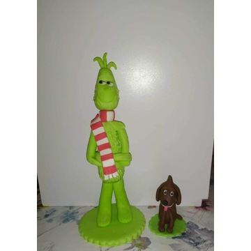 Figurki Grinch i Max z masy cukrowej na Tort