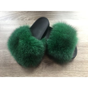 Klapki z Naturalnym Futrem - LIS - Glare Furs