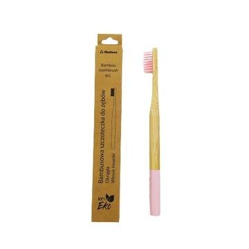 Bambusowa szczoteczka dla dziecka twarda różowa