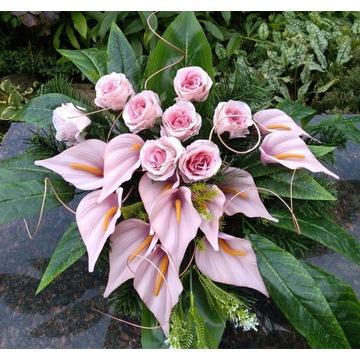 Stroik kompozycja kwiatowa grób cmentarz 50 cm