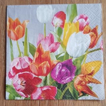 Serwetki do decoupage kwiaty tulipany 25x25-2szt.