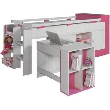 Łóżko dla dziewczynki z biurkiem i szafkami