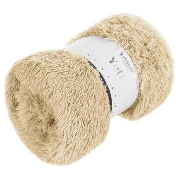 Koc narzuta 70x150 Yeti włochacz beżowy na łóżko