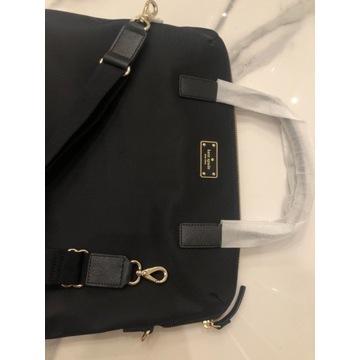 Kate spade torba na laptopa czarna zlote logo akt