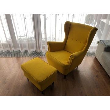 Fotel uszak STRANDMON IKEA z podnóżkiem