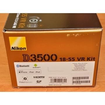 Nikon D3500 18-55 AF-P, na gwarancji, 2900 zdjęć