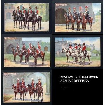 Pocztówki historyczne Armia Brytyjska ZESTAW 5 szt