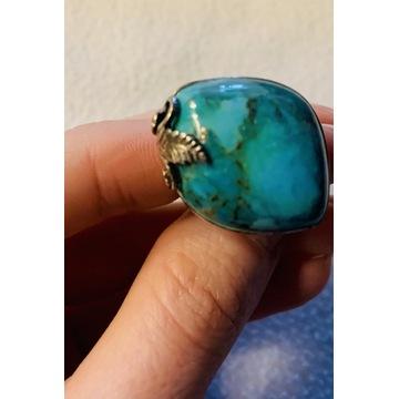 Olbrzymi pierścionek z turkusem,srebropr.925 11g