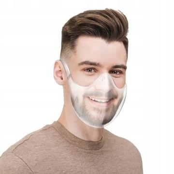 Przezroczysta maska na usta, półprzyłbica