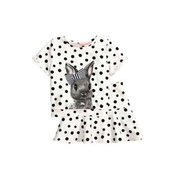 H&M dżersejowy komplet bluzka + spódniczka 134 140