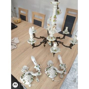 Porcelanowy żyrandol z klinkietami