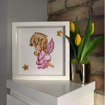 Anioł Stróż obraz dla dziecka - różowy:) ramka