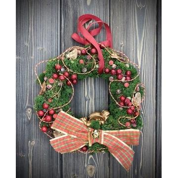 Świąteczny wianek z Aniołkiem Boże Narodzenie