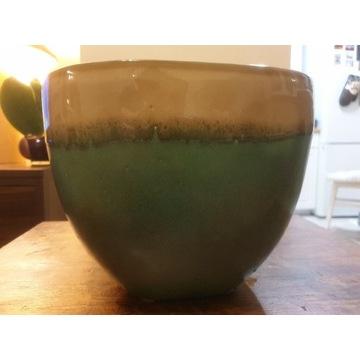Doniczka Osłonka ceramiczna zielona cieniowana 17