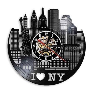 I LOVE NEW YORK Zegar ścienny z płyty winylowej