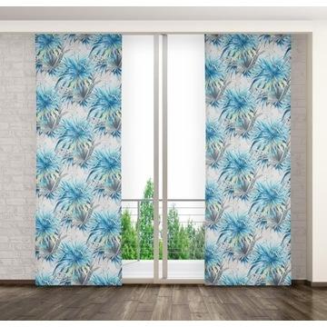 Zasłona Panelowa w Niebieskie Kwiaty 75x250 żabki