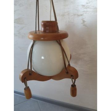 Lampa wisząca sufitowa - drewno, szkło