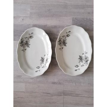 Półmisk, talerze, porcelana szare róże