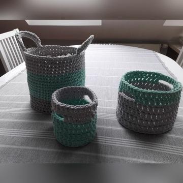 Zestaw koszyków ze sznurka bawełnianego