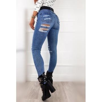 Spodnie dżinsowe dziury pod posladkiem roz xs 34