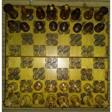 Stare szachy drewniane PRL.