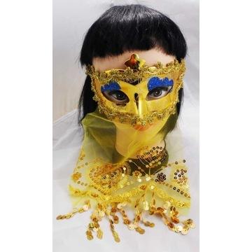 Złota Maska z Woalką ARABSKA KSIĘŻNICZKA