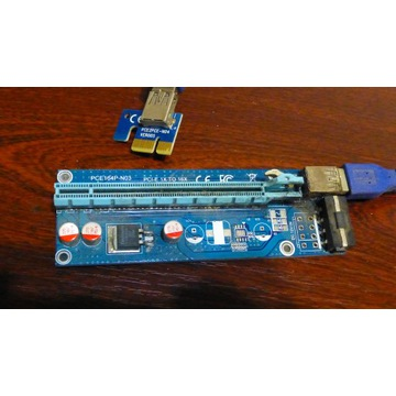 zestaw używanych riser USB PCI-E 1x do 16x