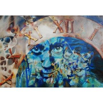 A.Kotarska-Wehikuł czasu-b.duży obraz olejny100x70