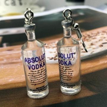 Kolczyki butelka Wódki, Wódka Absolut, srebrne 925