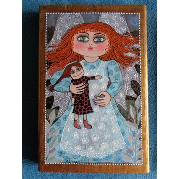 Rudowłosy ANIOŁEK z lalką - obraz na desce