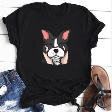Koszulka t-shirt lato pies buldog francuski buldoz