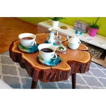 Drewniany stolik kawowy z plastra lite drewno