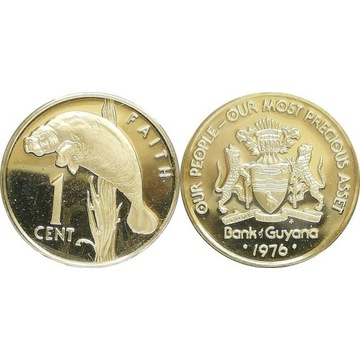 Gujana 1 cent 1976 FM, UNC proof KM#37