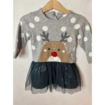 Świąteczna sukienka z reniferkiem H&M Święta r.68