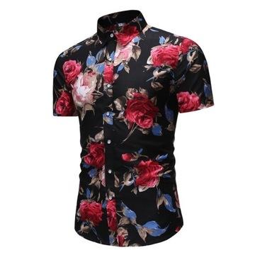 Koszula męska krótki rękaw w kwiaty NA LATO 2020 L