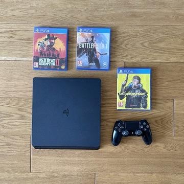 PlayStation 4 500 GB + 3 gry stan idealny