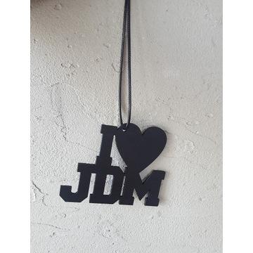 Zawieszka I LOVE JDM, sklejka 3mm, sznurek, serce