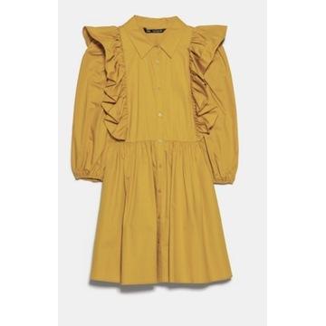 Musztardowa sukienka ZARA falbana
