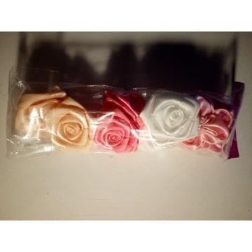 8x Kwiatki satynowe róże tasiemka 4 wzory po 2szt.