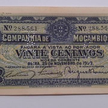 Banknot, Mozambik, 20 Centavos, 1933,a UNC