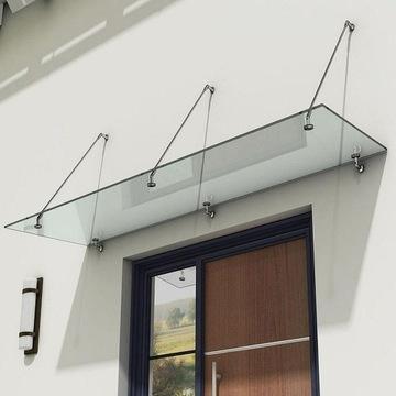Daszek szklany na cięgna stalowe nad drzwi 160x120