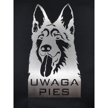 Tabliczka Owczarek Niemiecki Uwaga Pies Inox