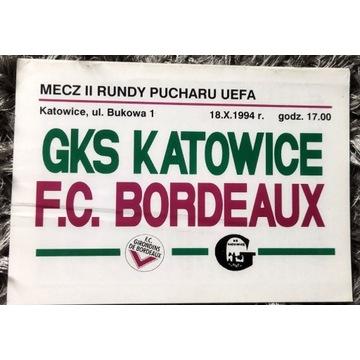 Program meczowy GKS Katowice Bordeaux UEFA 1994 r.
