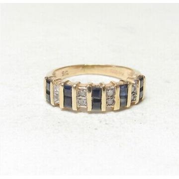 Złoty pierścionek 14k z diamentami i szafirami