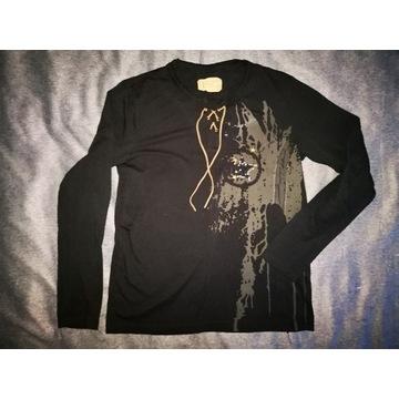 Czarna bluzka z długim rękawem longsleeve rzemyk L